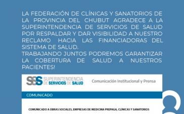 Comunicado a Obras sociales, empresas de medicina prepaga, clínicas y sanatorios