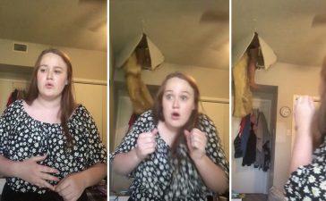 Una mujer cae desde el techo mientras su hija cantaba una canción en TikTok